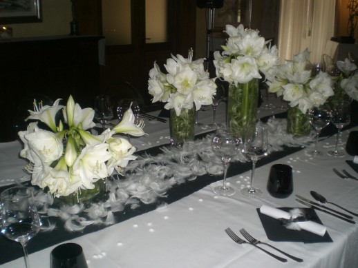 allestimento floreale tavoli per matrimonio black and white