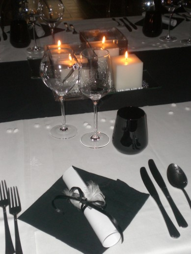decorazioni per tavoli per matrimonio black and white