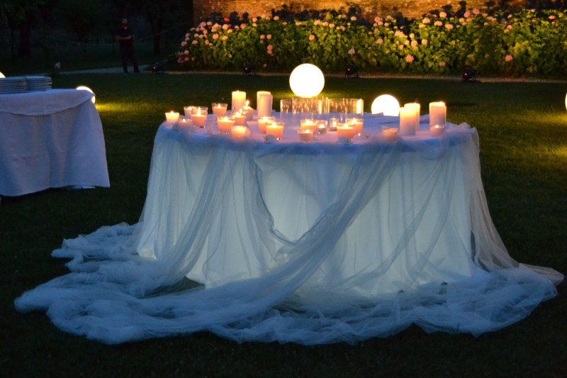 decorazioni con candele - matrimonio total white in aranciera