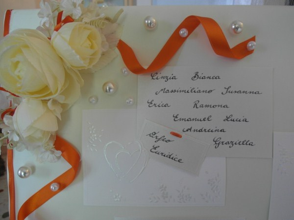 tableau per matrimonio color arancio